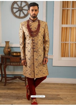 Camel Readymade Heavy Embroidered Indowestern Sherwani For Men