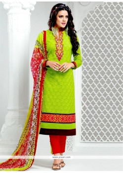 Invaluable Lace Work Green Designer Salwar Suit