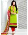 Invaluable Lace Work Green Designer Salwar Suit
