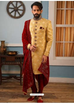 Mustard Readymade Heavy Embroidered Indowestern Sherwani For Men