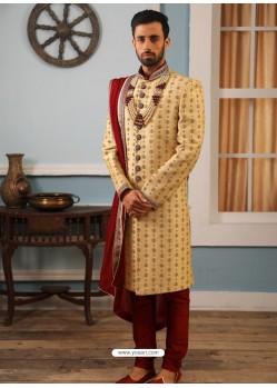 Cream Readymade Heavy Embroidered Indowestern Sherwani For Men