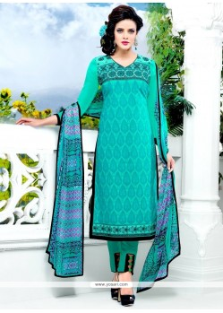 Deserving Sea Green Embroidered Work Salwar Suit
