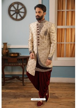 Light Beige Readymade Heavy Embroidered Indowestern Sherwani For Men