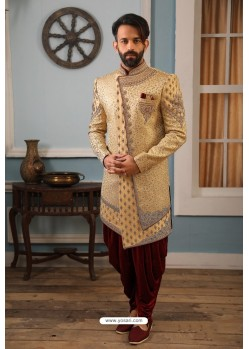 Beige Readymade Heavy Embroidered Indowestern Sherwani For Men