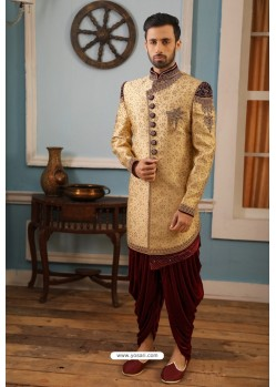 Gold Readymade Heavy Embroidered Indowestern Sherwani For Men