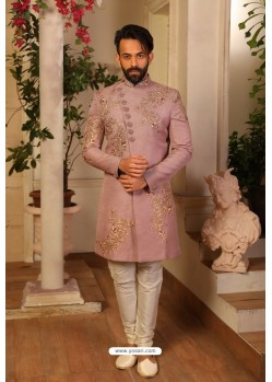 Mauve Readymade Heavy Embroidered Indowestern Sherwani For Men