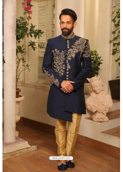 Navy Blue Readymade Heavy Embroidered Indowestern Sherwani For Men