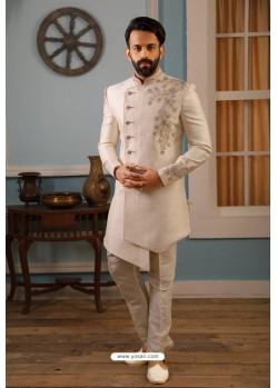 White Readymade Heavy Embroidered Indowestern Sherwani For Men