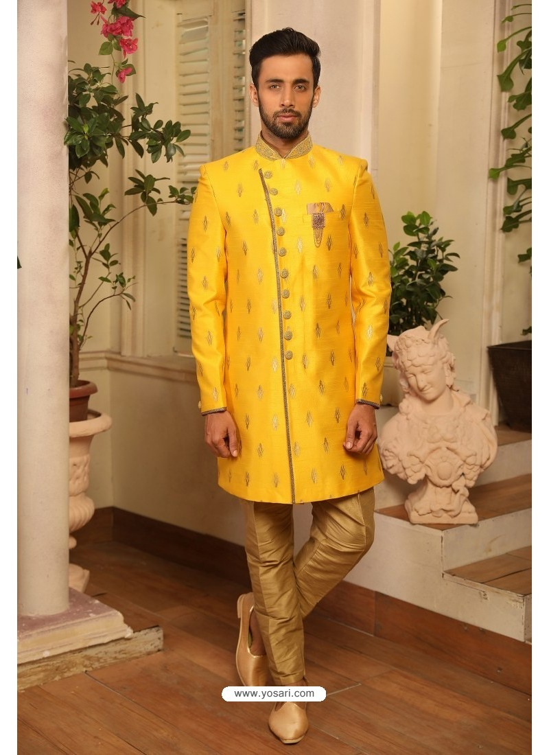 Yellow Readymade Heavy Embroidered Indowestern Sherwani For Men