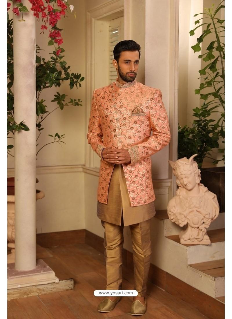 Peach Readymade Heavy Embroidered Indowestern Sherwani For Men