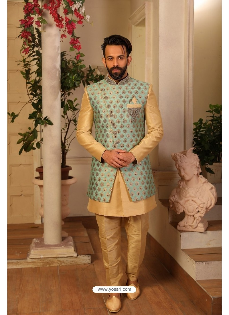 Cream Readymade Heavy Embroidered Indowestern Sherwani For Men