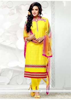 Flamboyant Cotton Resham Work Designer Salwar Suit