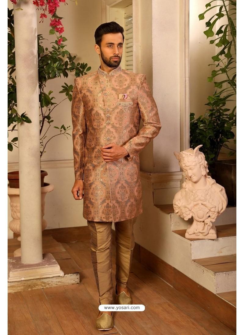 Beige Readymade Heavy Embroidered Indowestern Sherwani For Men