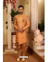 Orange Readymade Heavy Embroidered Indowestern Sherwani For Men