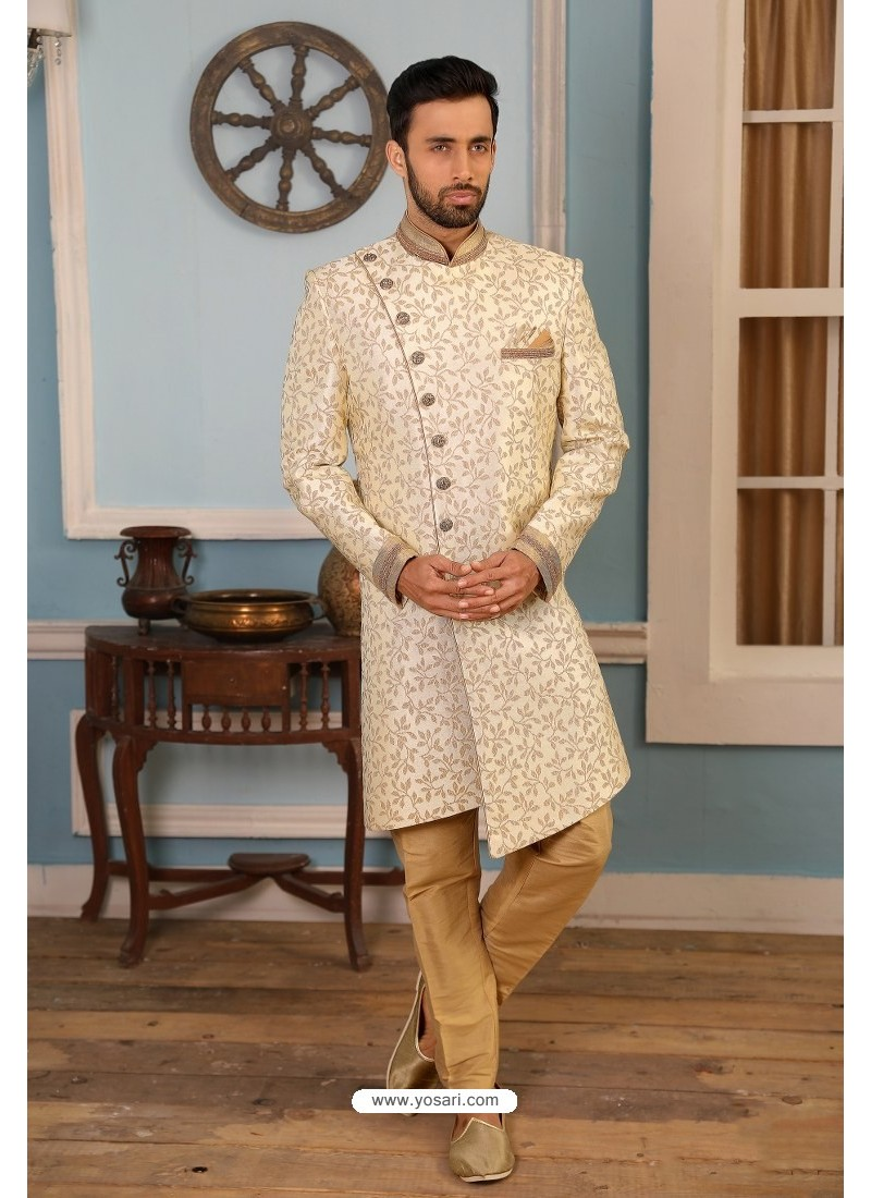 Off White Readymade Heavy Embroidered Indowestern Sherwani For Men