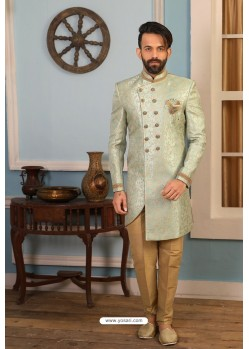 Grayish Green Readymade Heavy Embroidered Indowestern Sherwani For Men