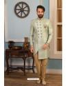 Grayish Green Readymade Heavy Embroidered Indowestern Sherwani For Men