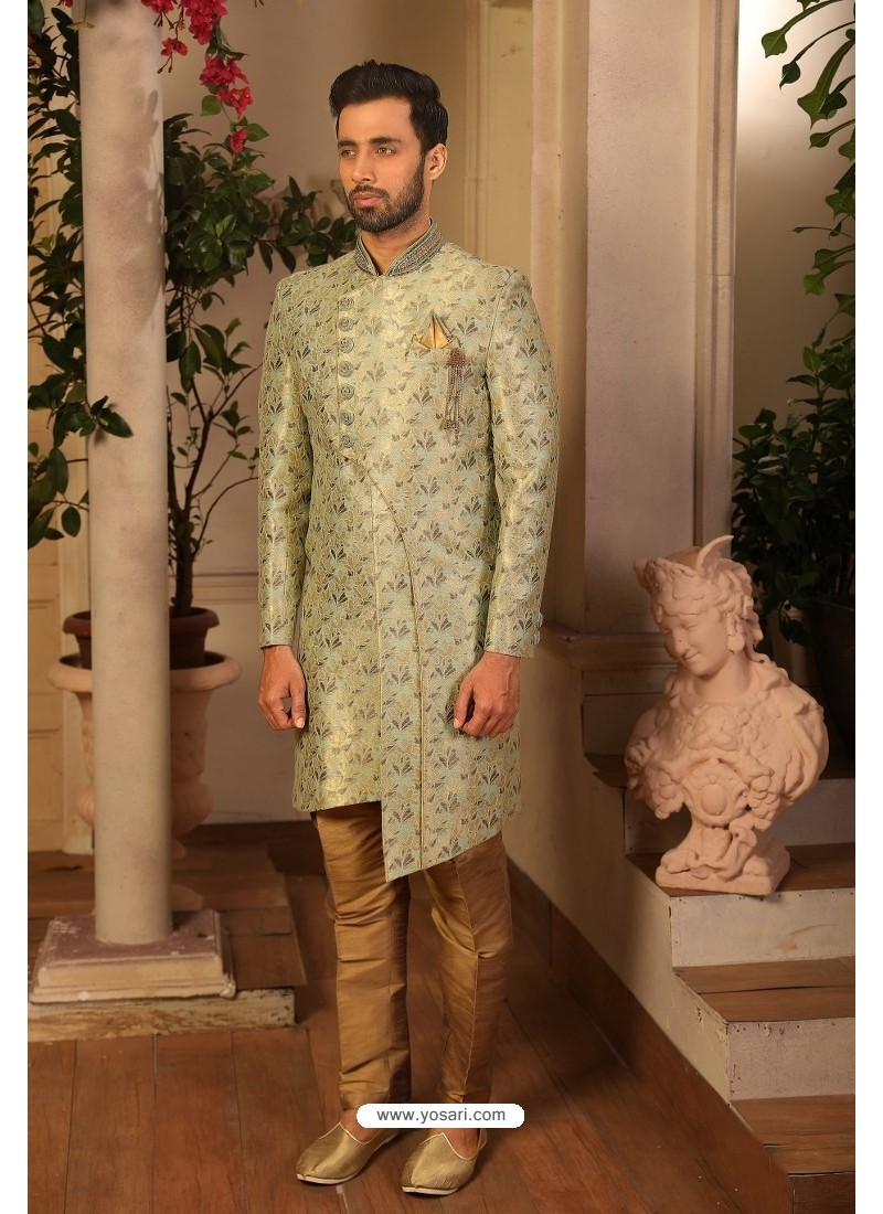 Olive Green Readymade Heavy Embroidered Indowestern Sherwani For Men