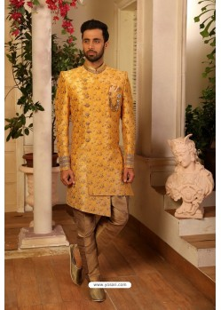 Mustard Readymade Heavy Embroidered Indowestern Sherwani For Men