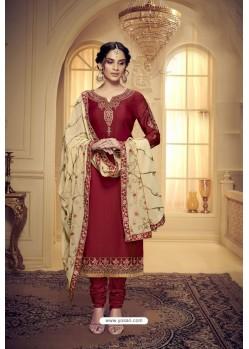 Maroon Embroidered Pure Satin Georgette Designer Churidar Salwar Suit