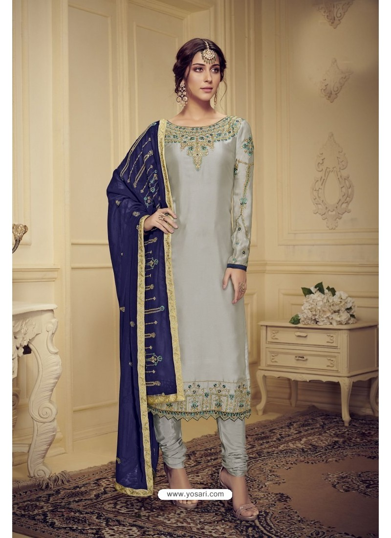 Silver Embroidered Pure Satin Georgette Designer Churidar Salwar Suit