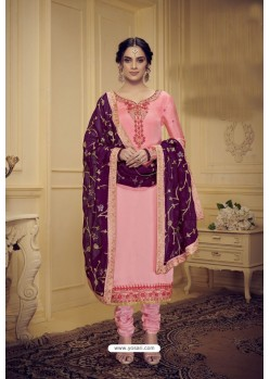 Pink Embroidered Pure Satin Georgette Designer Churidar Salwar Suit