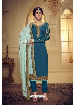 Teal Blue Embroidered Pure Satin Georgette Designer Churidar Salwar Suit