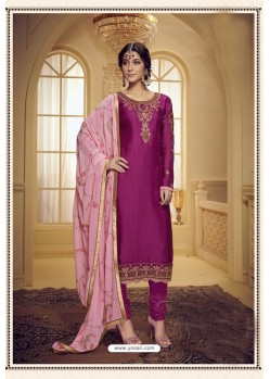 Medium Violet Embroidered Pure Satin Georgette Designer Churidar Salwar Suit