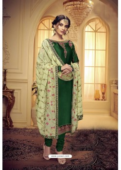 Dark Green Embroidered Pure Satin Georgette Designer Churidar Salwar Suit