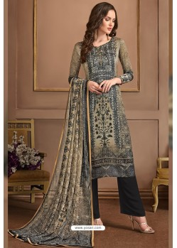Taupe Embroidered Satin Georgette Designer Palazzo Salwar Suit