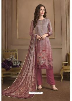 Mauve Embroidered Satin Georgette Designer Palazzo Salwar Suit