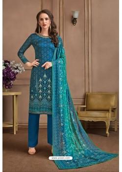 Teal Blue Embroidered Satin Georgette Designer Palazzo Salwar Suit