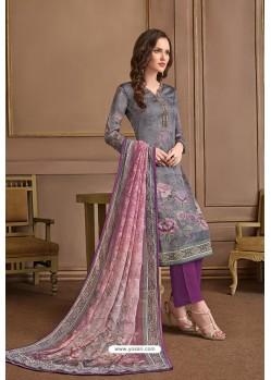 Grey Embroidered Satin Georgette Designer Palazzo Salwar Suit