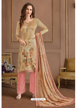 Cream Embroidered Satin Georgette Designer Palazzo Salwar Suit