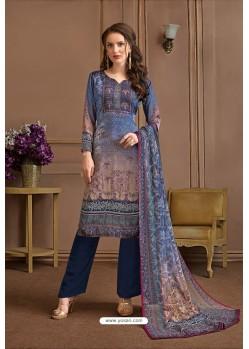 Dark Blue Embroidered Satin Georgette Designer Palazzo Salwar Suit