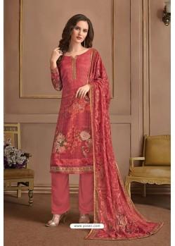 Dark Peach Embroidered Satin Georgette Designer Palazzo Salwar Suit