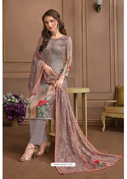 Light Grey Embroidered Satin Georgette Designer Palazzo Salwar Suit