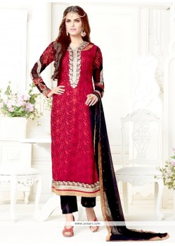 Lovely Maroon Embroidered Work Designer Salwar Kameez