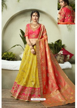 Yellow Heavy Embroidered Fancy Silk Jacquard Wedding Lehenga Choli