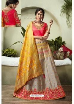 Light Grey Heavy Embroidered Fancy Silk Jacquard Wedding Lehenga Choli