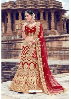 Maroon Heavy Embroidered Velvet Bridal Lehenga Choli