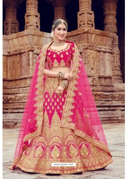 Hot Pink Heavy Embroidered Velvet Bridal Lehenga Choli