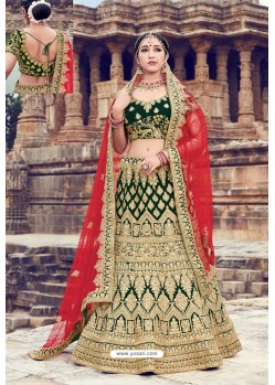 Dark Green Heavy Embroidered Velvet Bridal Lehenga Choli