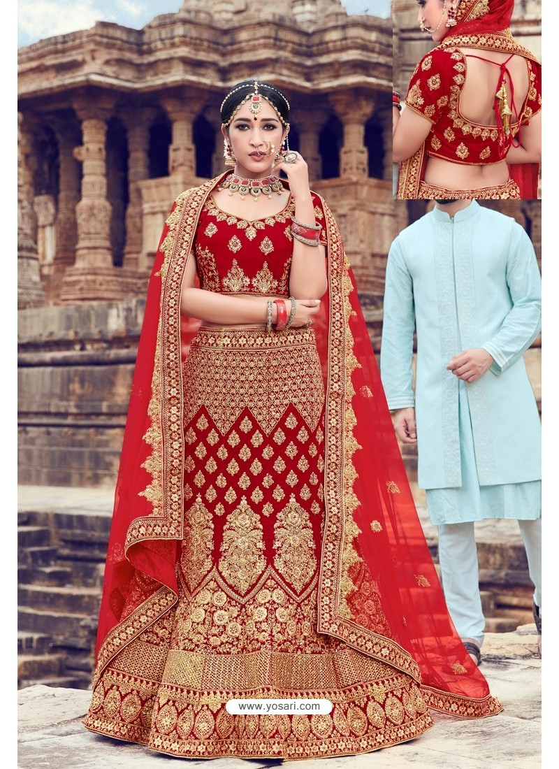 Red Heavy Embroidered Velvet Bridal Lehenga Choli