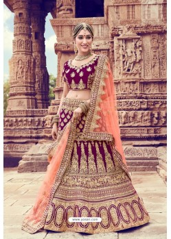 Purple Heavy Embroidered Velvet Bridal Lehenga Choli