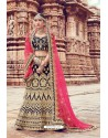 Navy Blue Heavy Embroidered Velvet Bridal Lehenga Choli