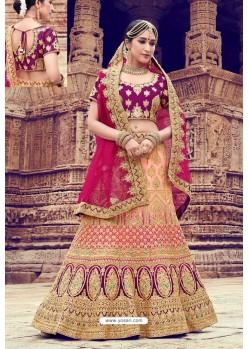 Deep Wine Heavy Embroidered Nylon Satin Bridal Lehenga Choli