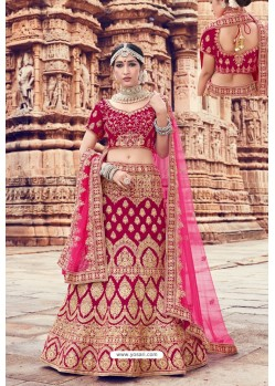 Rani Heavy Embroidered Velvet Bridal Lehenga Choli