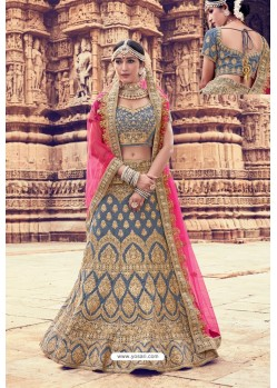 Pigeon Heavy Embroidered Velvet Bridal Lehenga Choli