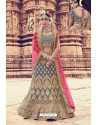 Pigeon Heavy Embroidered Velvet Bridal Lehenga Choli